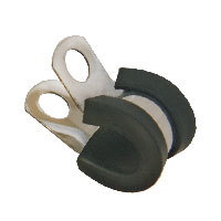 Klips nierdzewny z czarną obejmą gumową 10mm